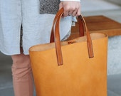 Artemis Leatherware Hand Stitched Light Brown Leather Tote Bag (Normal Version)
