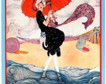 Poster of Vogue Magazine Cover- July 1, 1919 - Hot Weather Fashions - Helen Dryden illustration- Vintage