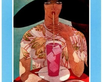 Vogue Magazine Cover- Harriet Meserole illustration -August 1, 1926 -Vogue Interior Decoration- Vintage Poster