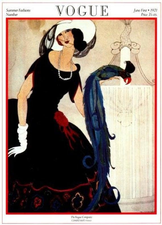 Vintage Vogue Magazine Cover Poster Print- June 1, 1921 - Helen Dryden ...