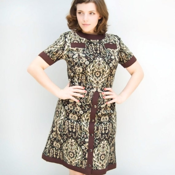 vintage brown green wool tapestry dress with thick brown edges and buttons