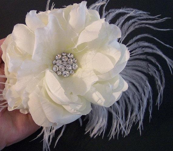 Bridal Hair Flower, Wedding Hair Flower Accessories, Bridal Hair Accessories, Ivory Bridal Hair Flower, Feather Flower