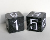 Hand Painted Wood Perpetual Calendar Block Set with white numbers