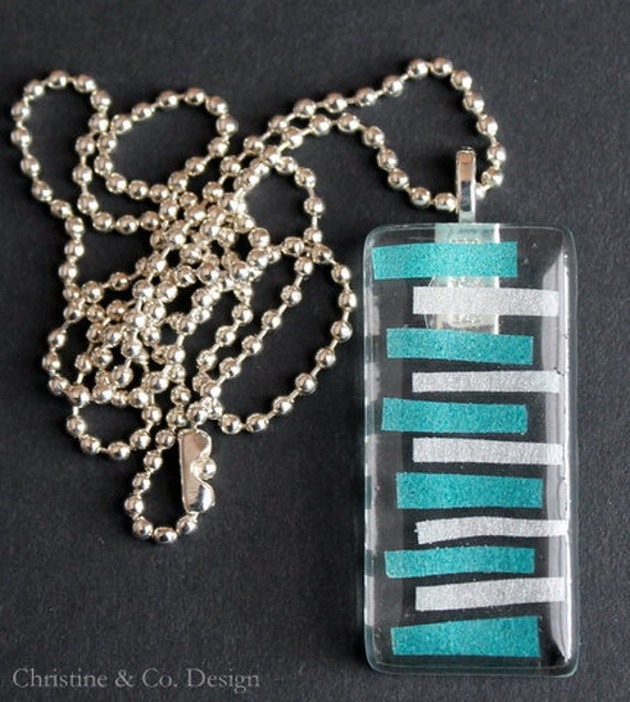 Turquoise and Silver Washi Tape Modern Design on  Glass Pendant Charm