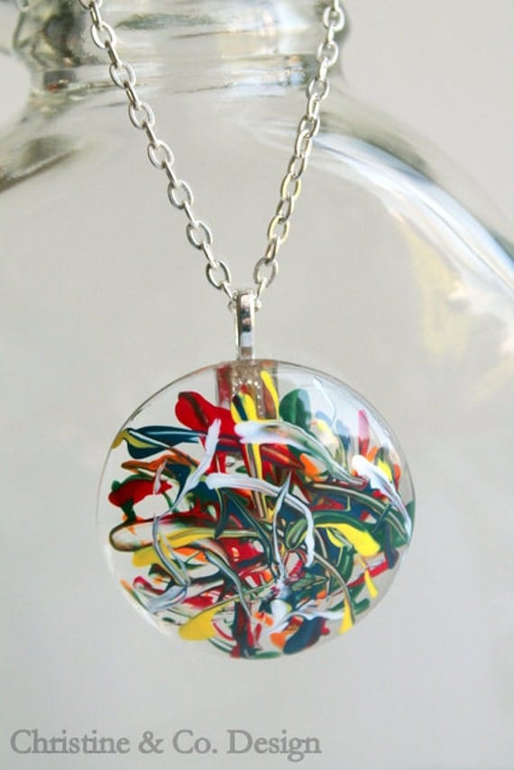 Primary Color Painted Glass Circle Pendant/ Handbag Charm