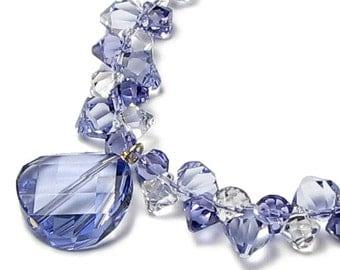 Sweet Violets Swarovski Crystal Cluster Provence Lavender Twist Bead Necklace, 14K Gold Filled, Purple Floating Crystal Drop Gift For Women