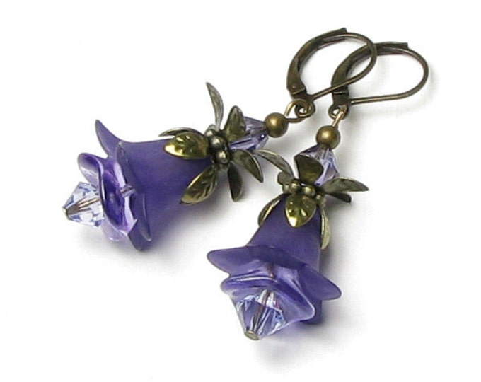 Purple Flower Swarovski Crystal Antique Brass Earrings, Romantic Tanzanite Jewelry, Floral Drops, Lilac, Lavender, Violet, Czech Glass Beads