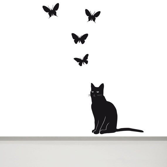 Cat Wall Decal and Butterfly Wall Decal 6 Cat Wall Art