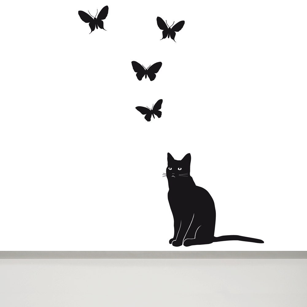 Cat wall decal butterfly wall decal cat wall art cat wall zoom amipublicfo Gallery
