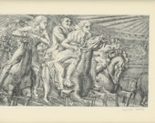 Antique American Print, Horse Art, 1939 Merry-Go-Round By Reginald Marsh, Men And Women, Horse