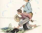 Norman Rockwell, Four Seasons Calendar Grandpa And Me Gone Fishing, Post Magazine Cover, Usa, America's Painter, Family Of 50's 60's 70's