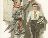 Norman Rockwell, Not Tall Enough Boy Scouts, Post Magazine Cover, USA, America's Painter, Family Of 50's 60's 70's, Vintage Print