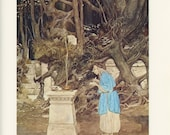 The Forgotten Temple, Wizard With Chalice, Goblin Background, Alan Lee, USA, Antique Children Print, Once Upon A Time