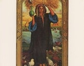 Egyptian Woman, Bundle Of Wheat, Afterglow In Egypt  William Holman Hunt, Victorian England Era, Antique Print, Printed In USA, 1975