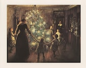 Christmas Art, Mother And Children Holding Hands Around Christmas Tree, Glad Jul, Christmas, Antique Print, Printed In USA, 1975