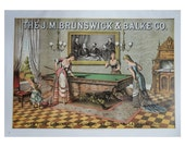 Vintage American Advertising Poster, Women Playing Billiards And Cow Meat Market, Vintage Poster Print, Mary Black, USA