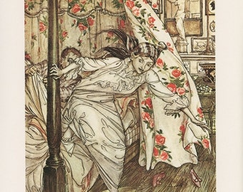 Venus And The Cat, Aesop's Fables, Woman In Nightgown Jumping Out Of A Canopy Bed, Arthur Rackham, Printed In Italy, Vintage Children Print