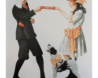 """Norman Rockwell Poster, """" Party Games """" Boy And Girl With Chinese Finger Prison Dog With Pink Bow, And """" Valedictorian """""""
