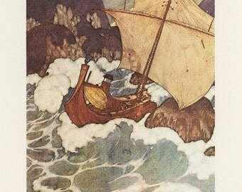 The Ships Stuck Upon The Rocks In A Stormy Sea, Arabian Nights, Edmund Dulac, Printed In America, Antique Children Print