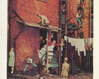 Norman Rockwell, Homecoming GI In The City With All The Family Working, Post Magazine Cover, Made In Usa, Of 50's 60's 70's, Vintage Print