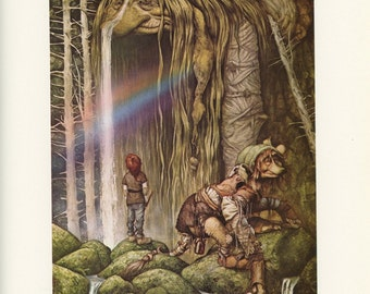 Forest Creatures, Rainbow, Brian Froud, Printed In America, Antique Children Print, Once Upon A Time