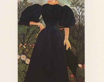 Woman In Dark Blue Dress Holding Umbrella In Garden, Portrait Of His First Wife, Henri Rousseau, Antique Print, Printed In USA, 1975