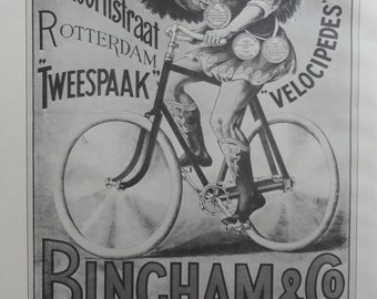 Vintage Bike Poster, Gladiator Cycles Paris, Bingham And Co. Woman Wings Roman, Bicycle Print, Jack Rennert, USA