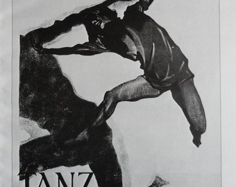 Vintage Dance Poster, Palucca German Theater, La Joselito Spanish Dancer, Black And White, Print,  Jack Rennert, USA