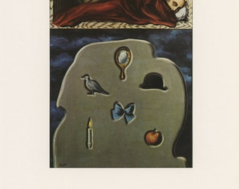 The Reckless Sleeper, Rene Magritte, Antique Print, USA, 1972