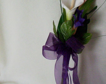 Silk Wedding Flowers Calla lilly bouquet Purple Brides Maid Bouquet bridal party accessories budget bouquets winter wedding accessory