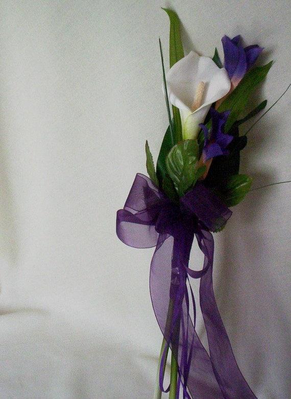 Wedding Bouquets Single Flower : Silk wedding flowers calla lilly bouquet purple brides maid