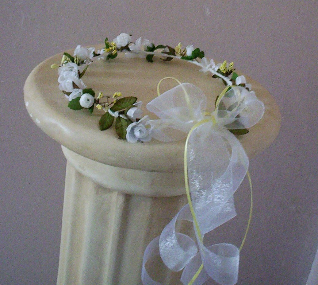 Wedding White Flower Crown: Wedding Hair Wreath White Flower Crown Boho Bridal Circlet