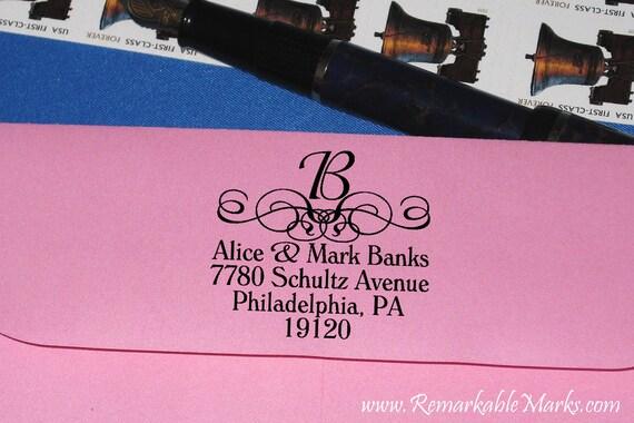 Monogram Custom Address Personalized Return Address Beautifully Mounted Stamp