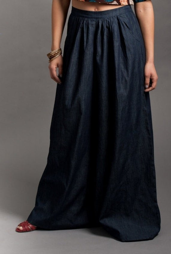 Denim Palazzo Pants by Lavender in Brown