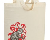Japanese Folklore Yokai Illustration - Gotokuneko - Cat of Five Virtues Tote Bag