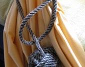 Gray Curtain Tieback Monkeyfist Ball Knot Wrap around type Rope Nautical Decor
