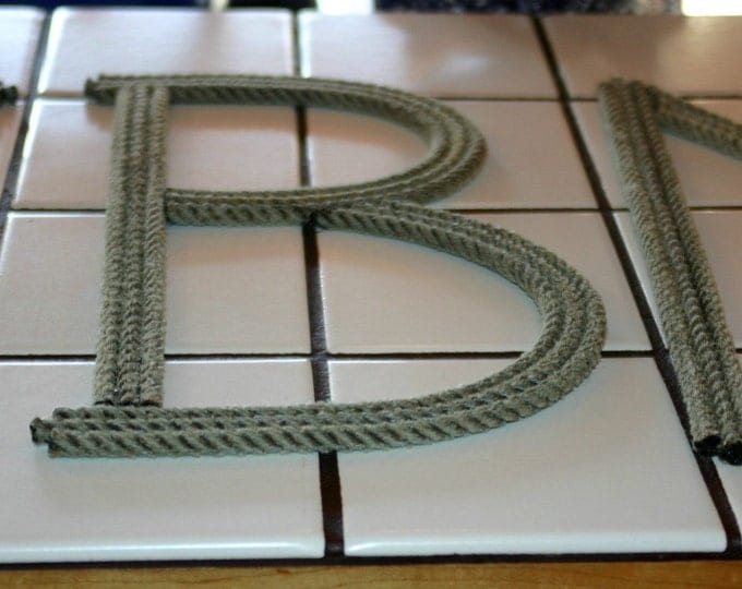 12 Inch Rope Letter or Number  Personalize CUSTOMIZE Nautical Nursery Western Themed Events Western Cowboy Beach Coastal