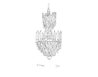 Chandelier of the Hall of Mirrors, Versailles, print of an original illustration