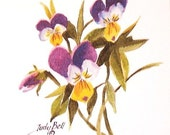 Purple Violets Wildflower - Johnny Jump Ups Watercolor Print