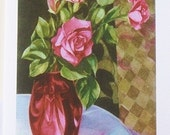 Pink Roses Still Life Note Cards - Stationery