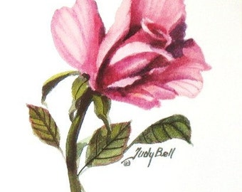 Pink Rosebud Watercolor Print Of Painting