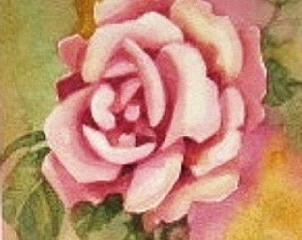 Pastel Pink Rose , English Rose , Original Watercolor Painting