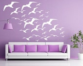 Seagulls Wall Decal, Bird Decals, Seagulls Vinyl Wall Decal, Birds Flying, tropical beach stickers beach wall decals