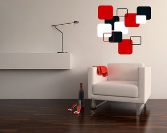 Retro / Mod Squares Decal 3 Colors