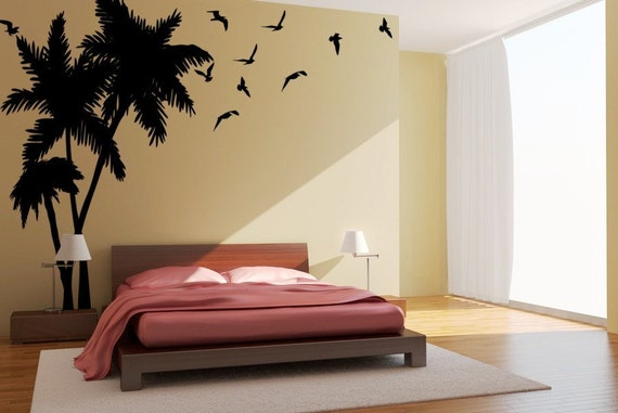 Palm Tree Seagulls Birds Vinyl Wall Art Decals