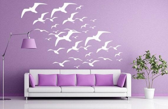 Seagulls Wall Decal, Bird Decals, Seagulls Vinyl Wall Decal, Birds Flying, tropical beach stickers beach wall decals
