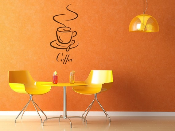 Coffee Cup Wall Decal, Cafe, Caffe, Le Cafe Vinyl Wall Art Graphic