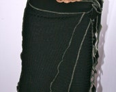 Women Black Sparkle Upcycled Recycled Eco-friendly Knit Wrap Skirt Free Size by Earthia