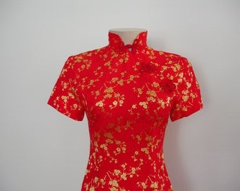 Gorgeous Vintage Custom Tailored Bombshell Body Con Silk Chinoiserie Dress