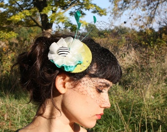 whimsy headpiece- green and blue
